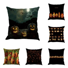 Halloween Pumpkin Carnival Printed Decorative Square Linen Throw Pillow