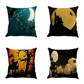 Happy Halloween Moonlights Printed Square Linen Throw Pillow