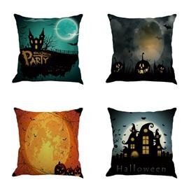 Happy Halloween Moonlight Pattern Decorative Square Linen Throw Pillow