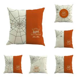 Happy Halloween Spider Web Decorative Square Linen Throw Pillow