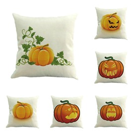 Halloween Festival Pumpkin Making Faces Decorative Square Throw Pillow