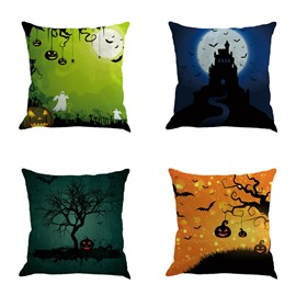 Halloween Festival with Night Sky Pattern Decorative Linen Throw Pillow