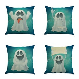 White Monster Making Faces Square Linen Decorative Throw Pillow
