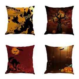 Halloween Night Scene and Bats Pattern Linen Square Throw Pillow
