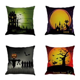 Halloween Moon Sky and Pumpkin Pattern Decorative Linen Throw Pillow