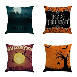 Halloween Festival Night Sky Pattern Decorative Linen Decorative Throw Pillow