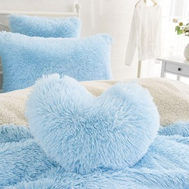 Light Blue Heart Shape Sweet Home Collection Plush Fluffy Throw Pillows