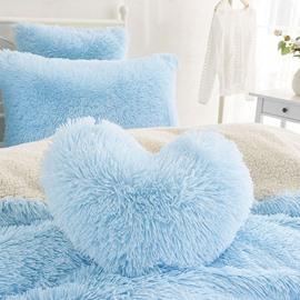 Light Blue Heart Shape Sweet Home Collection Plush Fluffy Throw Pillows