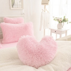 Pink Heart Shape Sweet Home Collection Plush Fluffy Throw Pillows