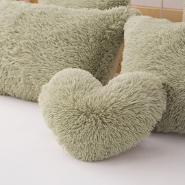Green Plush Heart Shape Decorative Fluffy Throw Pillow