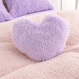 Purple Plush Heart Shape One Piece Decorative Fluffy Throw Pillow Wear-resistant Endurable