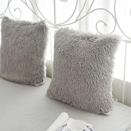 Grey Plush One Piece Decorative Square Throw Pillow