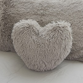 Heart Shape Fluffy Throw Pillow 1-Piece Grey Plush Pillow Fleece Sofa Cushion for Living Room Sweet Home Collection