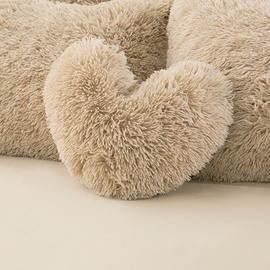 Camel Heart Shape Decorative Fluffy Throw Pillows