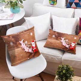 Reindeer Pull Santa's Sleigh 3D Printing Polyester Throw Pillow