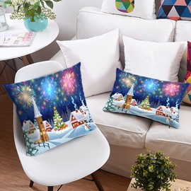 Christmas Tree and Colorful Fireworks 3D Printing Polyester Throw Pillow