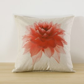 Red Blooming Flower Printed 3 Pattern Decorative Square Throw Pillow