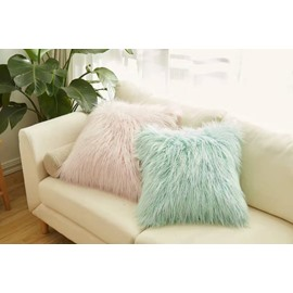 Pink and Green Luxury Soft Plush Fur Throw Pillow for Couch Decorative