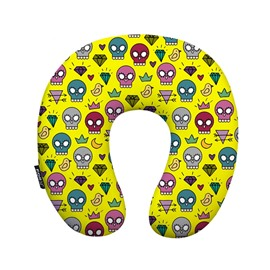 Fabulous Skull and Diamond Print U-Shape Memory Foam Neck Pillow