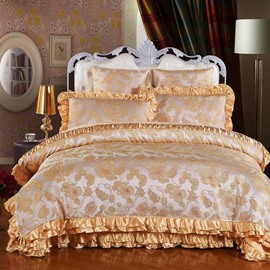 Ornate Camel Embroidery Floral 6-Piece Satin Bedding Sets