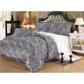 Zebra Pattern 4-Piece Silk-Like Duvet Cover Sets