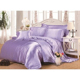 Skin Care Pale Purple 4-Piece Silk-like Bedding Sets/Duvet Cover