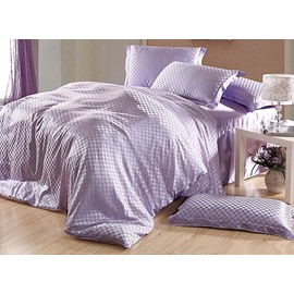 Elegant Check 4-Piece Light Purple Duvet Cover Sets