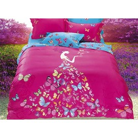 Butterflies Girl Printing Silky Satin Rosy 4-Piece Duvet Cover Sets