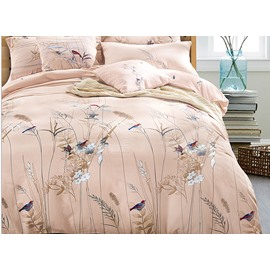 Pastoral Style Birds Flowers Silky Satin 4-Piece Duvet Cover Sets