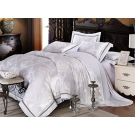 Elegant White Floral Jacquard 100% Cotton 4-Piece Duvet Cover Sets