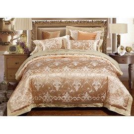 Luxury Golden Jacquard 4-Piece Silky Bedding Sets/Duvet Cover