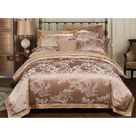 Noble Sandy Beige Floral Jacquard 4-Piece Duvet Cover Sets