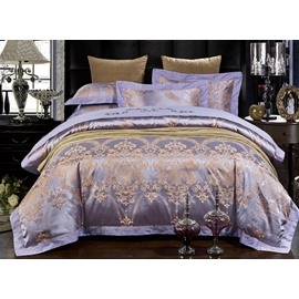 Noble Purple Damask Jacquard 4-Piece Duvet Cover Sets