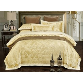 Light Yellow Jacquard 4-Piece Duvet Cover Sets