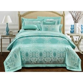 Luxury Turquoise Jacquard 4-Piece Duvet Cover Sets