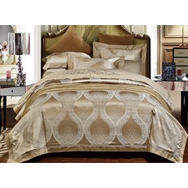 Gorgeous Apricot Jacquard 4-Piece Duvet Cover Sets