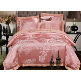 Elegant Satin Peony Jacquard 4-Piece Duvet Cover Sets