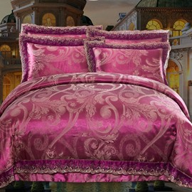 Luxurious Satin Jacquard Red 4-Piece Duvet Cover Sets