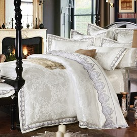 Luxurious White Satin Drill Lace Edging 4-Piece Cotton Bedding Sets/Duvet Cover