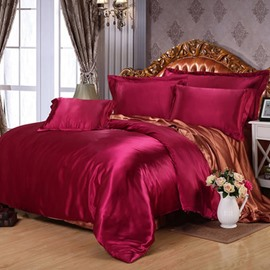 Burgundy and Brown Color Blocking Luxury Silky 4-Piece Bedding Sets