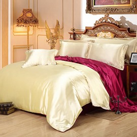 Camel and Burgundy Color Blocking Luxury Silky 4-Piece Bedding Sets