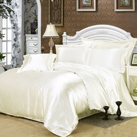White Skin-friendly Smooth 4-Piece Cotton Bedding Sets Luxury Silky Duvet Cover Set for Full/Queen Size Bed with Non-slip Ties