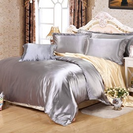Bright Silver and Yellow Color Blocking Luxury Silky 4-Piece Bedding Sets