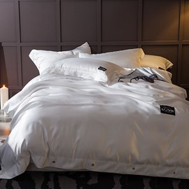 Solid Ivory White Luxury Style Silky 4-Piece Bedding Sets/Duvet Cover