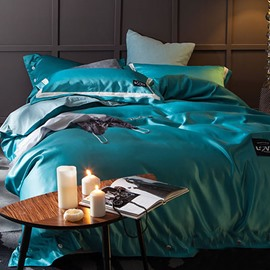 Solid Bright Blue Luxury Style Silky 4-Piece Bedding Sets/Duvet Cover