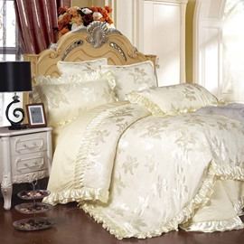 Luxury Style Flowers Jacquard Solid White 6-Piece Cotton Sateen Bedding Sets/Duvet Cover