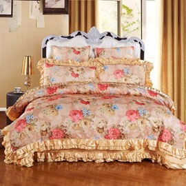 Pink and White Flowers Pattern Luxury Style 6-Piece Cotton Sateen Bedding Sets/Duvet Cover