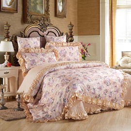 Pastoral Style Blooming Flower Pattern 6-Piece Cotton Sateen Bedding Sets/Duvet Cover