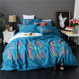 Embroidery Peacock Feathers Luxury Style Blue 4-Piece Cotton Sateen Bedding Sets/Duvet Cover