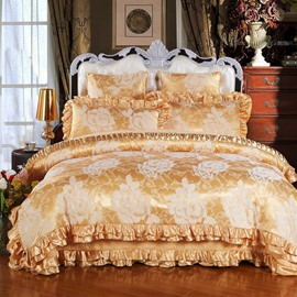 Golden Flowers Printed Royal Style 6-Piece Cotton Sateen Bedding Sets/Duvet Cover